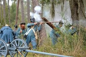 US Army troops fighting for their life after being attacked by Seminole Indians in 1835 near Bushnell, Florida